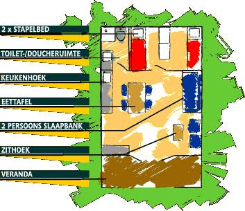 Vakantiepark Slagharen - Buffalo huisje plattegrond